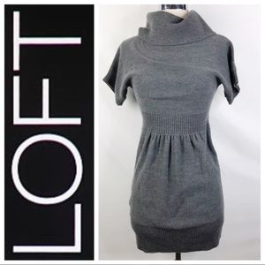 Ann Taylor LOFT Gray Wool Blend Sweater Dress